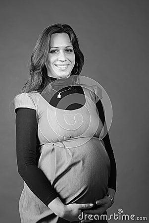 Grayscale portrait of pregnant