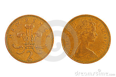 Great Britain Two Pence monet.Isolated.