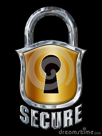 Great Chrome Secure Lock with Shield on Black Stock Photo
