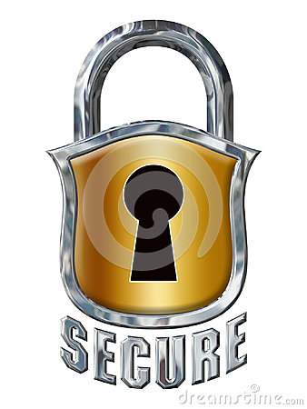 Great Chrome Secure Lock with Shield on White Stock Photo