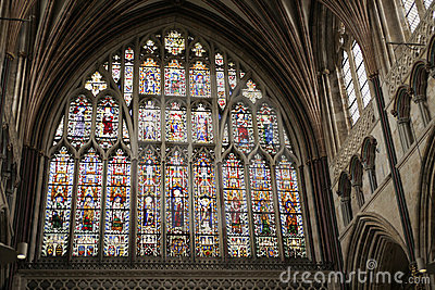 Great east window of Exeter Cathedral 14th century