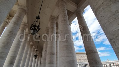Great Famous Famous colonnade of St. Peter`s Basilica in Vatican city in Italy.  stock video footage