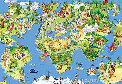 Great and funny world map Stock Photo