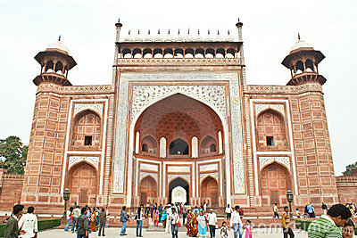 The great gate to the Taj Mahal, Agra,India. Editorial Stock Image