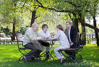 Great-grandfather, grandfather, father and son wrestling