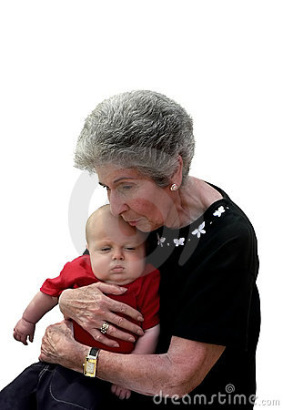 Great-grandmother comforting great-grandchild