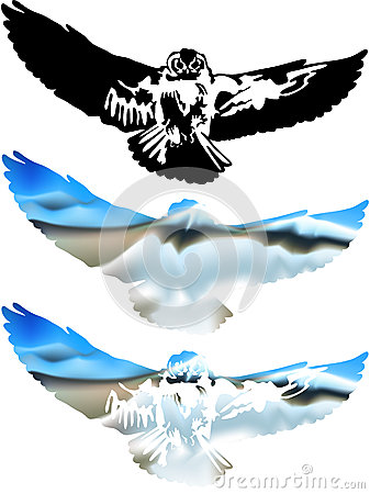 Great horned owl flying  Vector Illustration Great Horned Owl Illustration