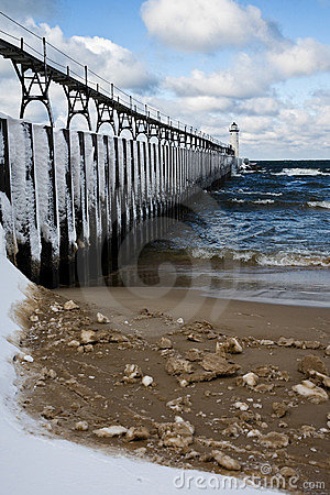 Great Lakes Light House In Winter