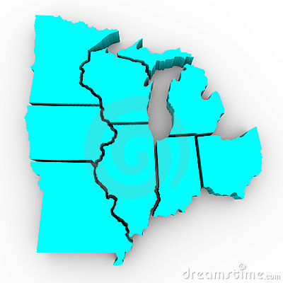 Great Lakes Region of States - 3d Map