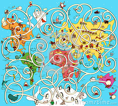 Free Great Map Of The World Maze Game. Find The Right Way From Austra Royalty Free Stock Photos - 91856378