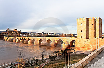 Great Mosque and Roman Bridge at Dusk in Cordoba
