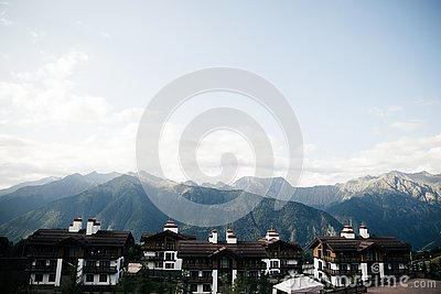 Great place in the mountains, small village Stock Photo