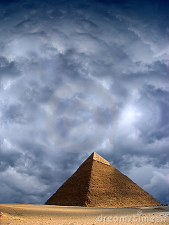 Great Pyramid Cheops Giza Ancient Egypt Stormy Sky