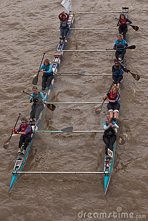 The Great River Race, boats on the Thames. Editorial Stock Image