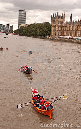 The Great River Race, boats on the Thames. Editorial Stock Photo