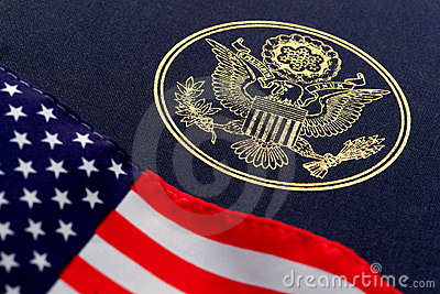 Great Seal of the United States and American Flag