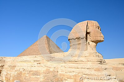 Great Sphinx of Giza with Great Pyramid.