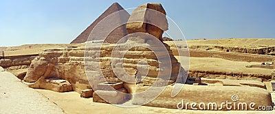 Great Sphinx, Great Pyramid.  Giza, Egypt.