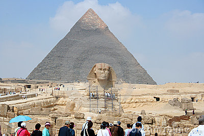 Great Sphinx and pyramid of Khafre Editorial Photography