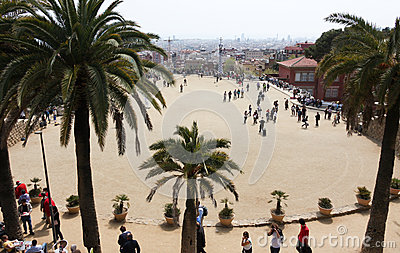 Great square of Park guell Editorial Stock Photo
