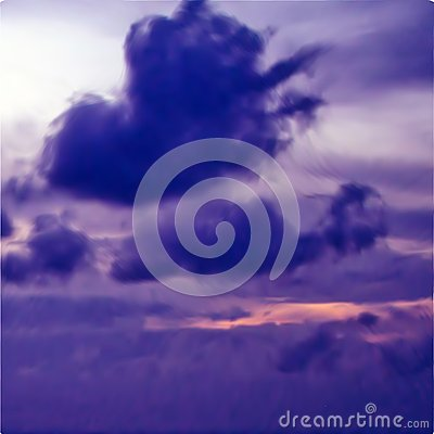 Great violet sunset sky with clouds. Vector