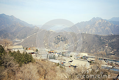 Great Wall of China and ancient chinese village