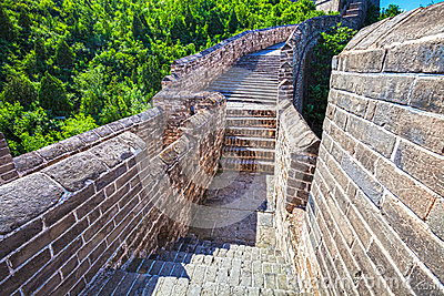 Great Wall of China at Sunny Day