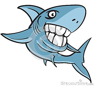 Great white shark with big human teeth
