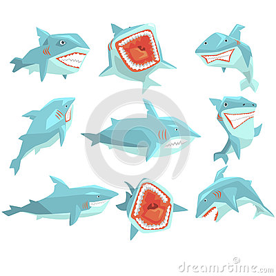 Free Great White Shark Marine Fish Living In Warm Sea Waters Realistic Cartoon Character Vector Set Of Different Views Stock Images - 81380614