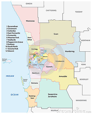 Greater Perth Administrative Map Australia Stock Vector Image - Perth world map