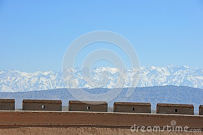 Greatwall and snow capped mountain