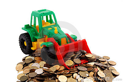 Gree Bulldozer Raked Pile Of Coins Royalty Free Stock Photo - Image: 18781845