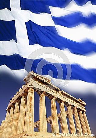 Greece - Acropolis - Athens - Flag