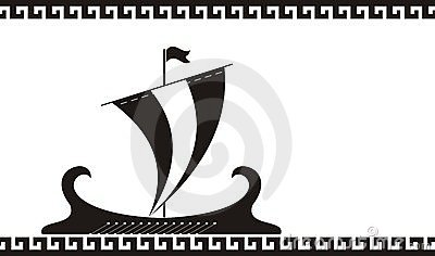 Greece ancient ship silhouette