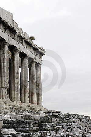 Greece. Athens. Marble pillars of the Acropolis
