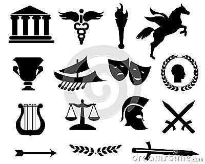 Greece black icons