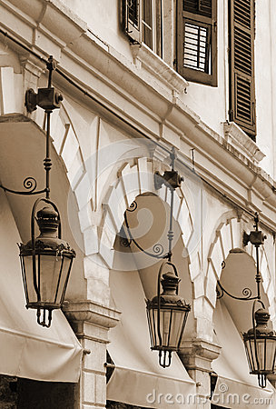 Free Greece. Corfu (Kerkyra) Island. Corfu Town. Street Lamp. In Sepi Royalty Free Stock Photo - 68316565