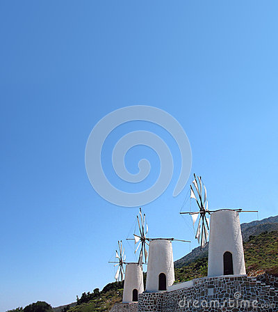 Greece, Crete, Windmills on the  east of island