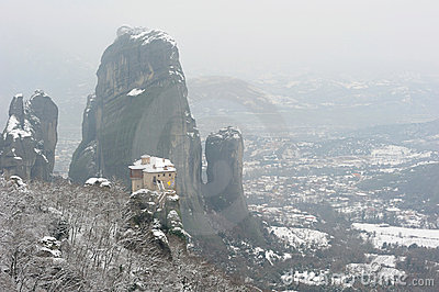 Greece. Meteora. Snow-covered Roussanou monastery