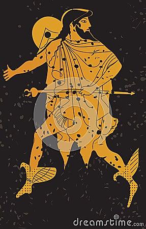 Greece mural painting,  Greek Soldier.