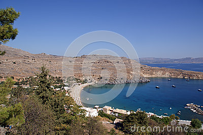 Greece, Rhodes Island, Lindos, view at the acropolis