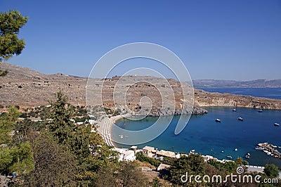 Greece, Rhodes Island, Lindos, view at the acropolis