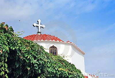 Greece,Rhodes,Lindos -Greek orthodox church