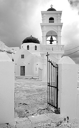 Greece. Santorini. Town of Fira. Classical church