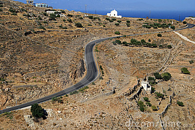 Greece, Syros, Windy road