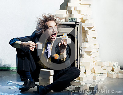 Greedy banker with money