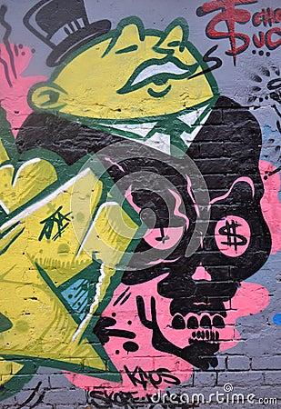 Greedy Business Man Graffiti Editorial Photography