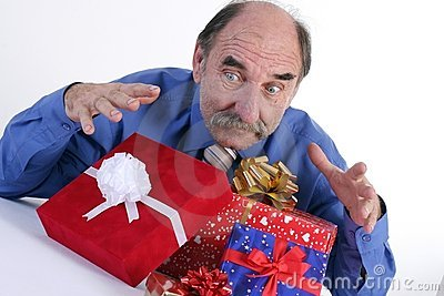 Greedy man with gifts