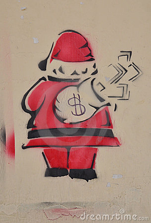 Greedy Santa Stencil Art Editorial Image