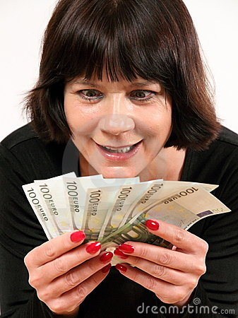 Greedy woman holding money